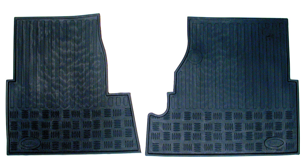 Front Floor Mat Set, Molded Rubber, Pair, For Land Rover Defender 90, 200TDI, 300TDI, TD5, Series 1, 2, 2A, And 3