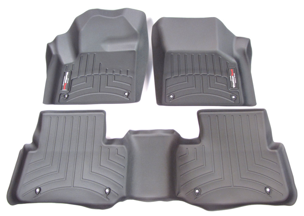 Floorliner Molded Mats By WeatherTech: Front Seat And 2nd Row 3-Piece Set Black