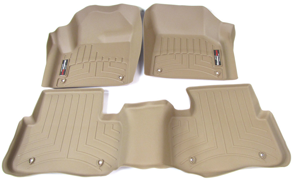 Floorliner Molded Mats By WeatherTech: Front Seat And 2nd Row 3-Piece Set Tan