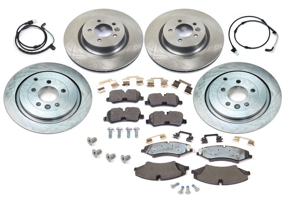 Brake Rebuild Kit, Front And Rear, With Genuine Brake Pads, Standard Rotors, Replacement Wear Sensors And Hardware, For Land Rover LR4 5.0L V8, 2010-Only