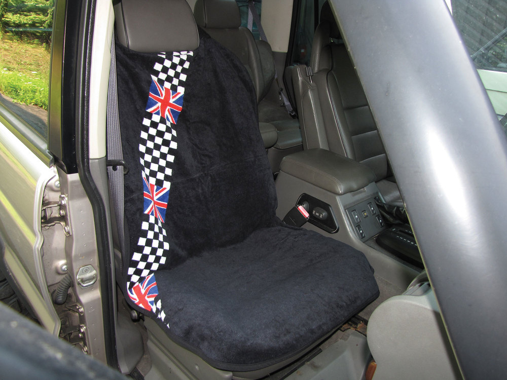 Seat Armor Seat Towel - Terry Cloth Checkered & Black - Single Cover