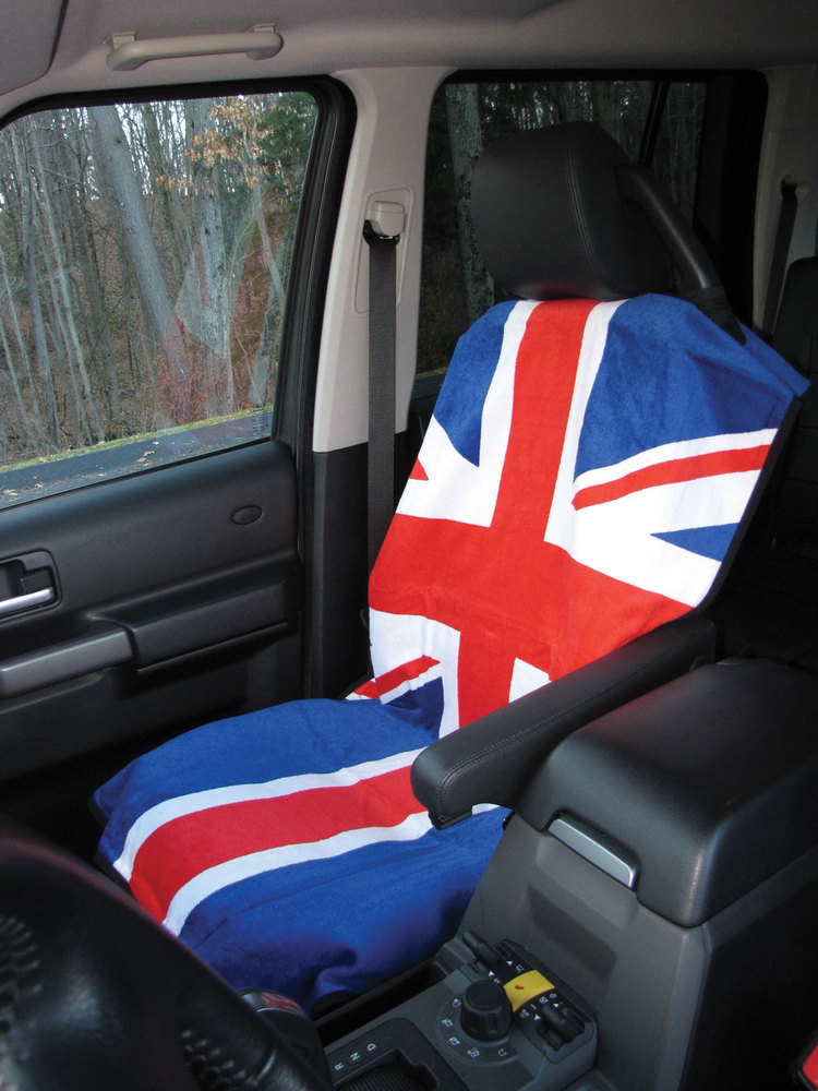 Seat Armor Seat Towels, Terry Cloth Union Jack, Black, White And Grey, Pair