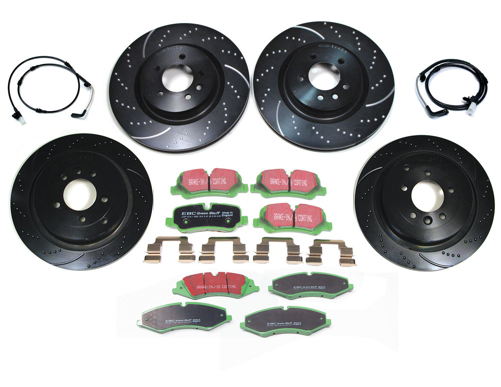 EBC Performance Brake Rebuild Kit, Front And Rear, Premium Sport Rotors, Greenstuff Pads And Wear Sensors For Land Rover LR4 And Range Rover Sport 2011 - 2013