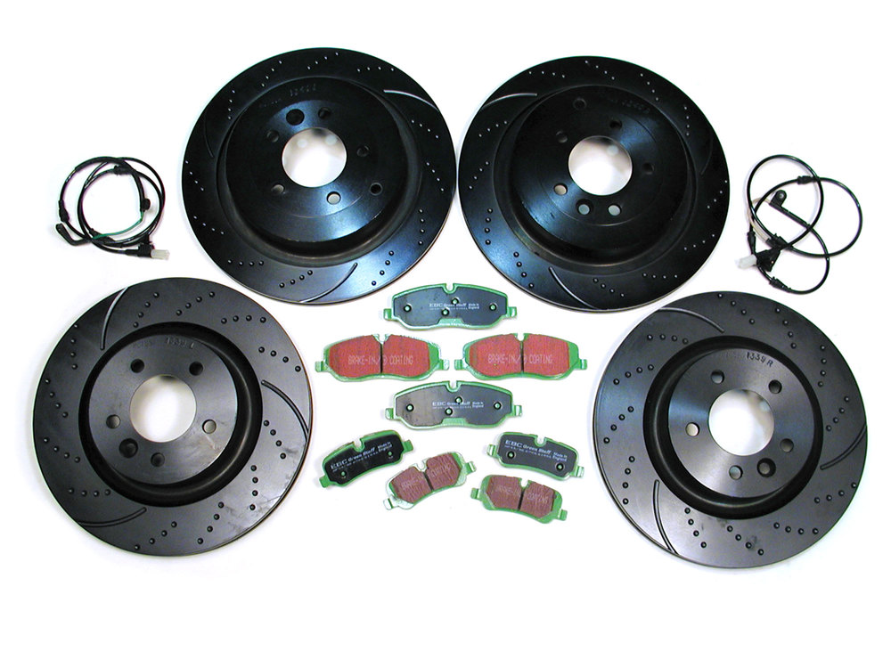 EBC Performance Brake Kit, Front And Rear, With Greenstuff Pads, 3GD Sport Rotors, Brake Wear Sensors And Hardware, For Land Rover LR3 V8