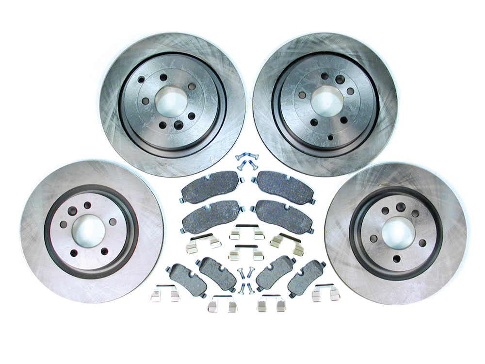 Complete Brake Kit For Land Rover LR3 V8, Front And Rear, Includes Genuine Pads With Pins And Clips, Standard Rotors And Replacement Wear Sensors