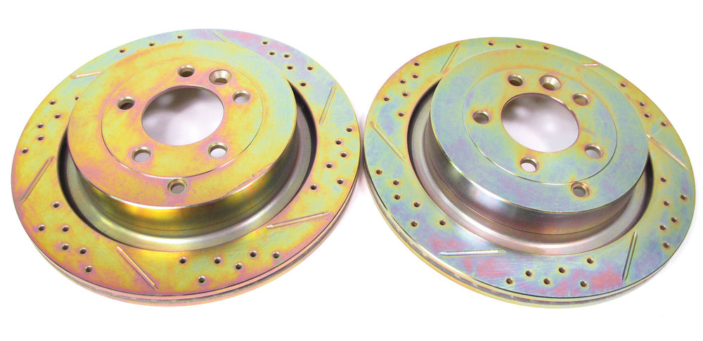 Performance Rear Brake Rotors By Terrafirma SDB000646CDG, Drilled And Slotted Pair, For Land Rover LR3 V8 And Range Rover Sport (See Fitment Years)