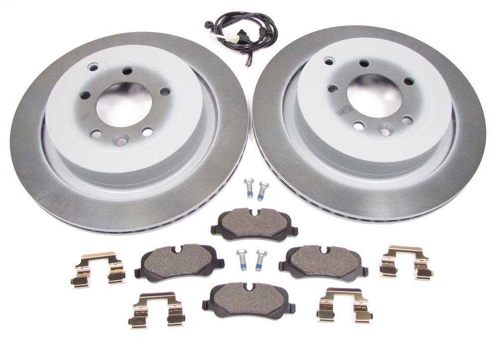 Rear Brake Rebuild Kit, Includes Genuine Rotors, Brake Pads, Spring Clips, And Wear Sensor, For Range Rover Sport Supercharged, 2006 - 2009