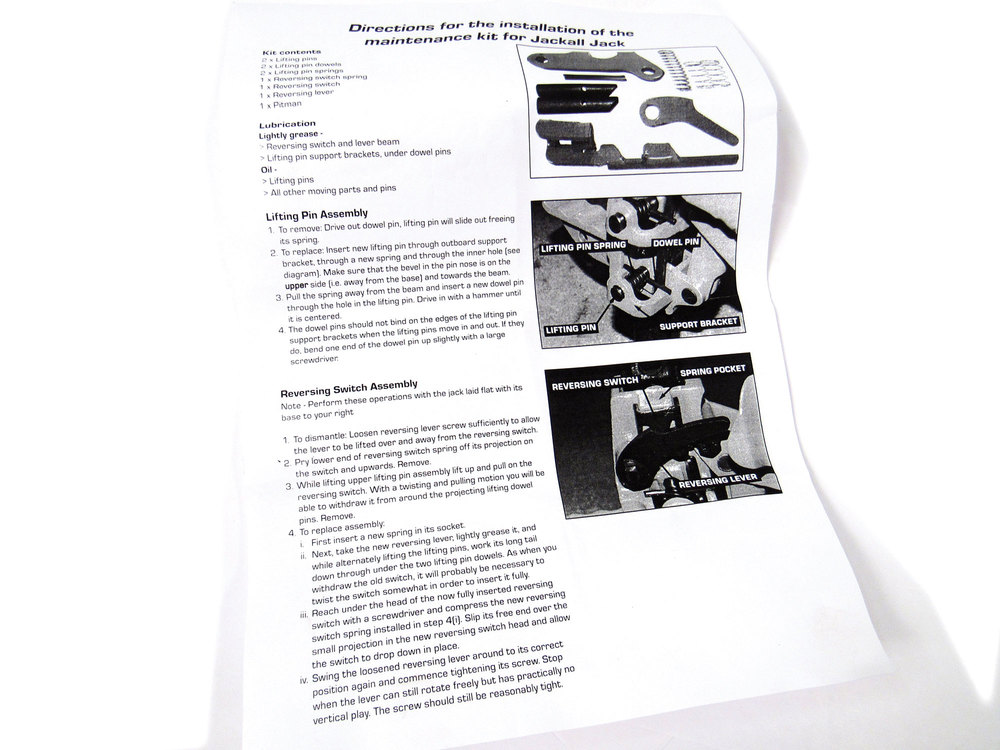 Jackall Jack Maintenance Kit By Maasdam