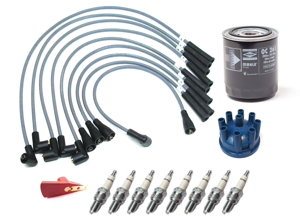 Tune Up Kit For Land Rover Defender 90 And 110, And Range Rover Classic, Includes Oil Filter, Champion Spark Plugs, Silicone Ignition Wires, Red Ignition Rotor And Distributor Cap
