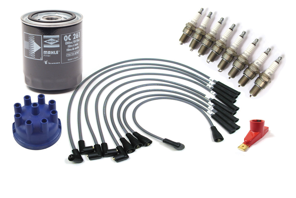 Premium Tune Up Kit For Land Rover Defender 90 And 110, And Range Rover Classic, Includes Oil Filter, Autolite Platimum Spark Plugs, Silicone Ignition Wires, Red Ignition Rotor And Blue Powerspark Distributor Cap