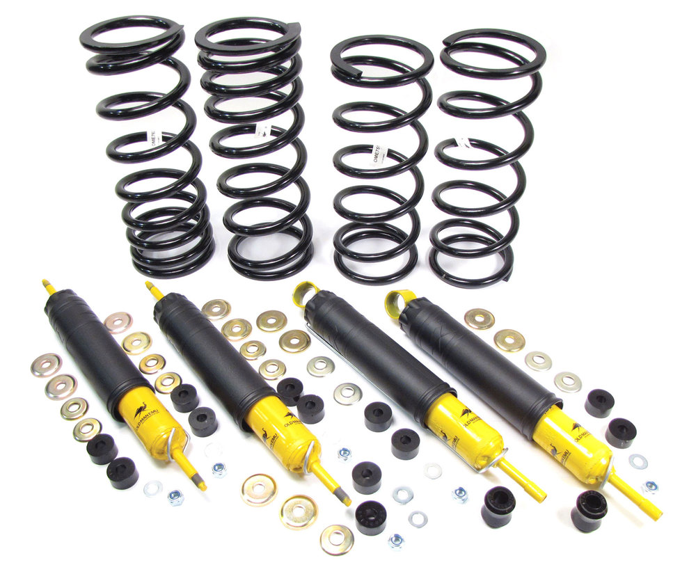 Shock And Spring Suspension Kit With Heavy Duty Front And Rear Nitrocharger Sport Shocks And Coil Springs From Old Man Emu / ARB, For Land Rover Discovery I, Defender 90, And Range Rover Classic (See Fitment Years)