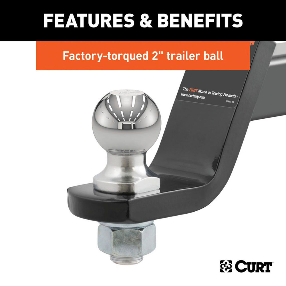 Towing / Trailer Ball And Mount, 4-Inch Drop, 2-Inch Ball, Pin And Clip With 7500 Pound Rating, By Curt Manufacturing