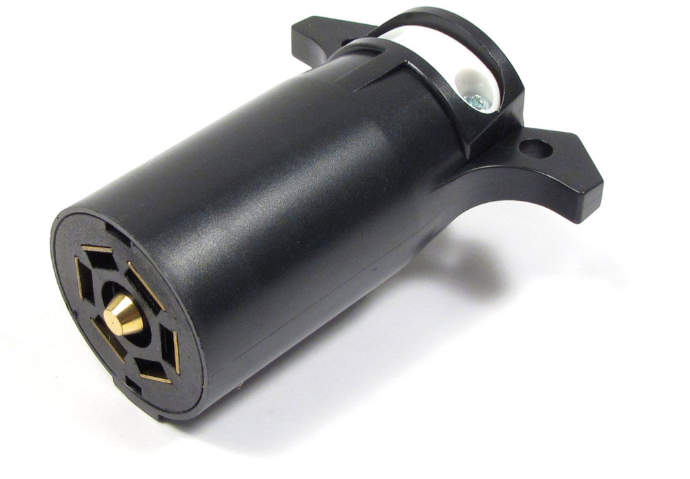 Trailer Towing Socket Plug, 7-Way Round Male, Trailer Side For Electric Brakes, By Curt Manufacturing