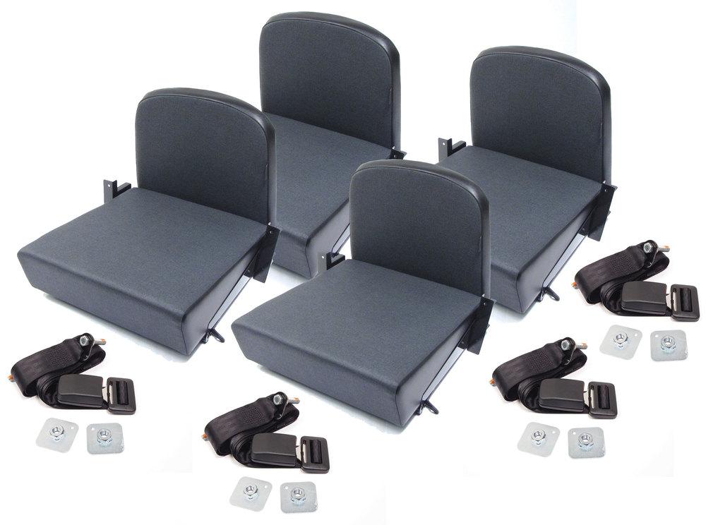 Trakker Rear Jump Seats Twill Black North American Spec: Set Of 4