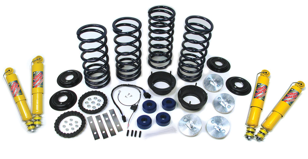 Standard Profile Air Suspension To Coil Spring Conversion Kit With EAS Override Harness, Atlantic British Springs And Set Of 4 Old Man Emu Performance Nitrocharger Shocks