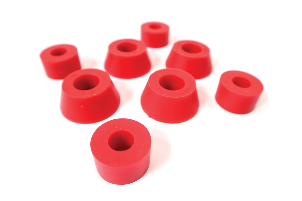 Polyurethane Bushing Kit By Polybush For Rear Shock Absorbers, Red / Very Firm, For Land Rover Discovery 1, Defender 90 And 110, And Range Rover Classic