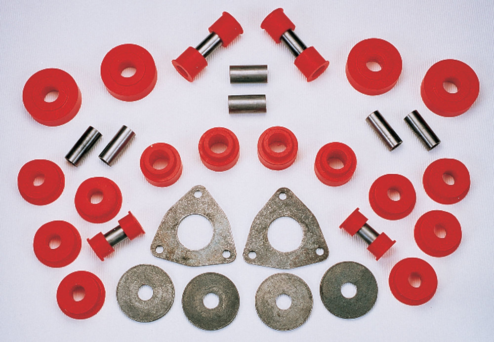 Polyurethane Bushing Kit By Polybush, Front And Rear Suspension, Red / Very Firm, For Land Rover Discovery 1, Defender 90 And Range Rover Classic