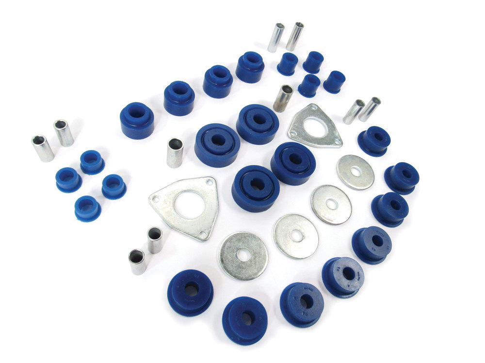Polyurethane Bushing Kit By Polybush, Front And Rear Suspension, Blue / Soft, For Land Rover Discovery 1, Range Rover Classic And Defender 90