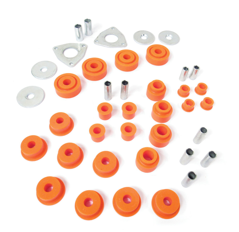 Polyurethane Bushing Set By Polybush, Front And Rear Suspension For Land Rover Discovery 1, Range Rover Classic And Defender 90 (Orange / Standard Firmness)