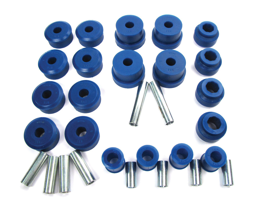 Polyurethane Bushing Kit By Polybush, Front And Rear Suspension, Blue / Soft, For Range Rover P38