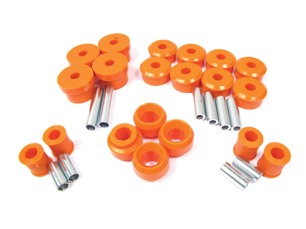 Polyurethane Bushing Kit By Polybush, Front And Rear Suspension 23-Piece Set, Orange / Standard Firmness, For Range Rover P38