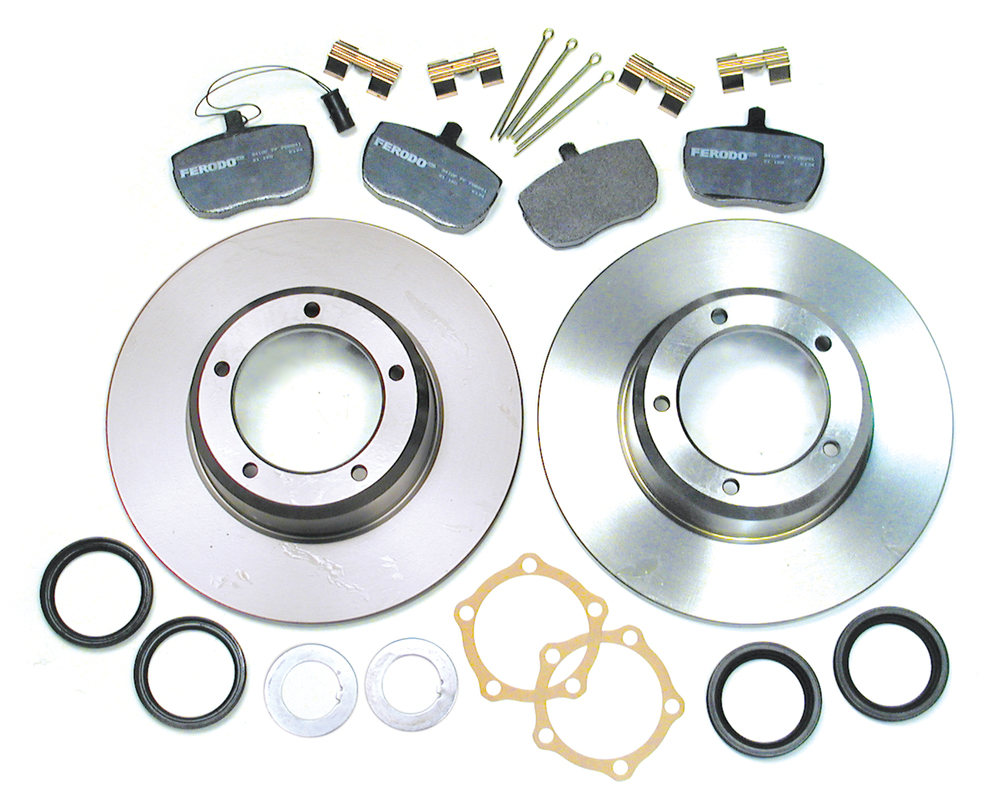 Front Brake Rebuilding Kit With Ferodo Pads With Pins And Clips, Standard Rotors, Hub Seals, Lock Tabs, And Joint Washers, For Range Rover Classic, 1987 - 1989