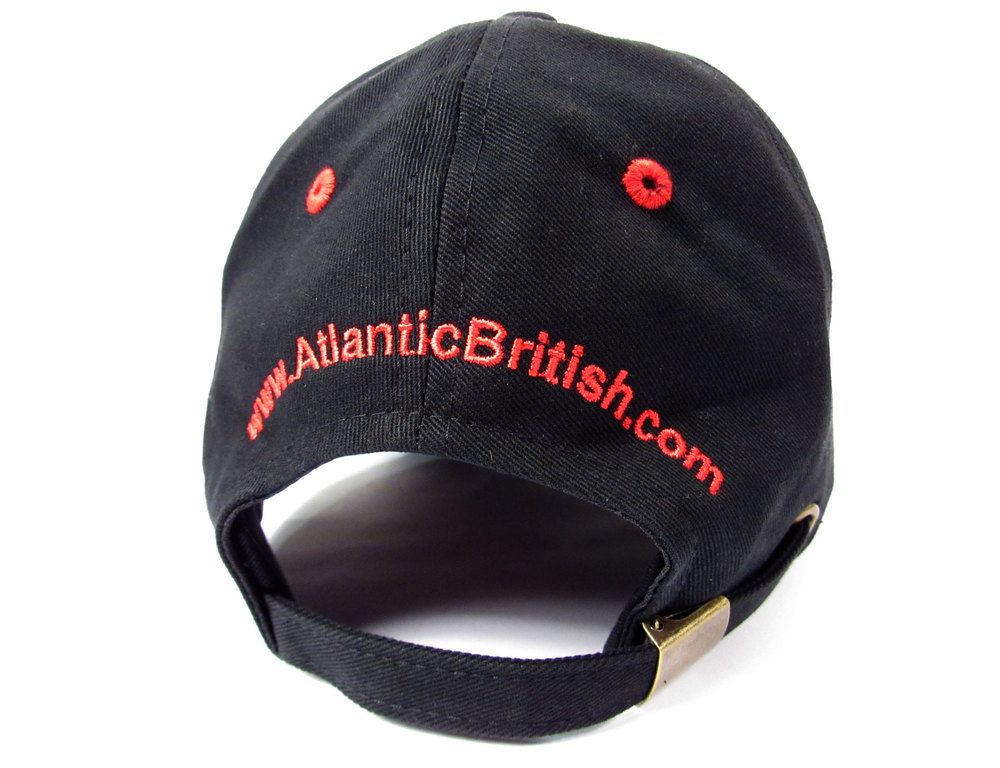 Baseball Cap Hat With Embroidered Atlantic British Logo, Black