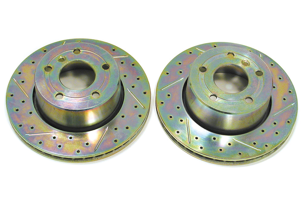 Front Brake Rotors, Pair, High Performance Drilled And Slotted By Terrafirma, For Land Rover Discovery Series II