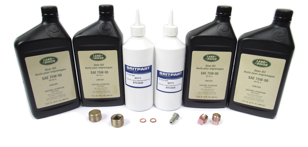 Differential And Axle Service Kit For Range Rover Classic 1987 - 1995, Includes 4 Quarts Differential / Axle Oil 75-W90R GL5 Fluid, Two 13-Oz Bottles Swivel Housing Grease, Seals And Hardware