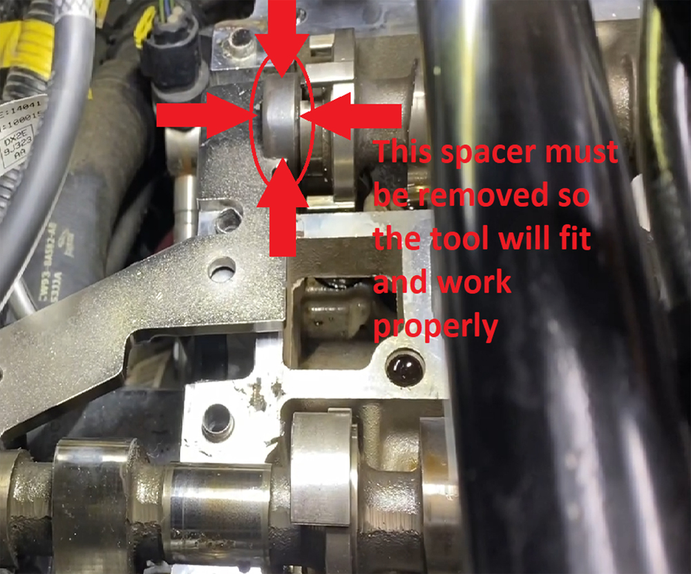 Note when using JLR-303-1600 Camshaft Alignment Tool.