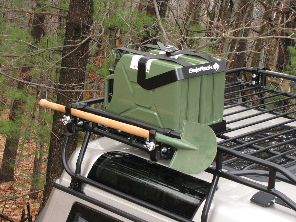 Roof Rack Jerry Can Holder By BajaRack (Holds 2 Five Gallon Cans)