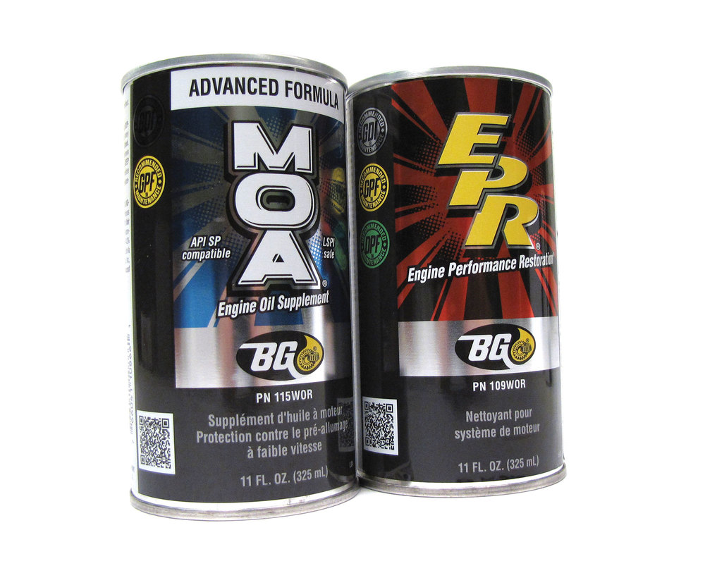 BG EPR Engine Performance Restore & MOA Engine Oil Supplement Kit: Two 11 Oz Cans