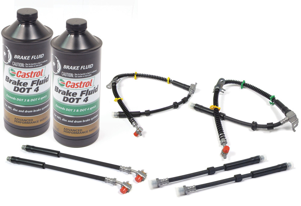 Brake Hose Kit With 2 Quarts Castrol Synthetic DOT4 Brake Fluid For Land Rover LR4, 2014 - 2016