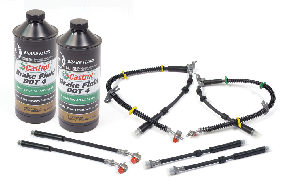 Brake Hose Kit With 2 Quarts Castrol Synthetic DOT4 Brake Fluid For Land Rover LR4, 2010 - 2013