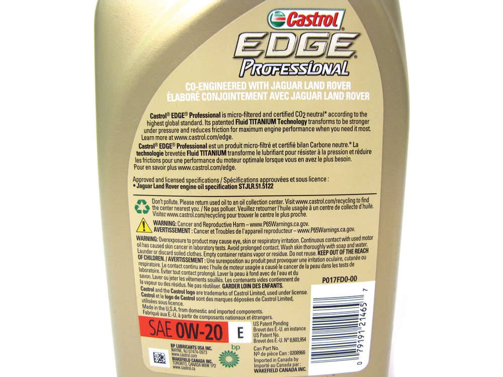 Engine Motor Oil, Castrol Edge Professional Synthetic 0W-20, Original Equipment Spec With Additives, 1 Quart, For Land Rover LR4, Discovery 5, Discovery Sport, Range Rover Sport, Range Rover Full Size, And Range Rover Evoque (See Fitment Years)