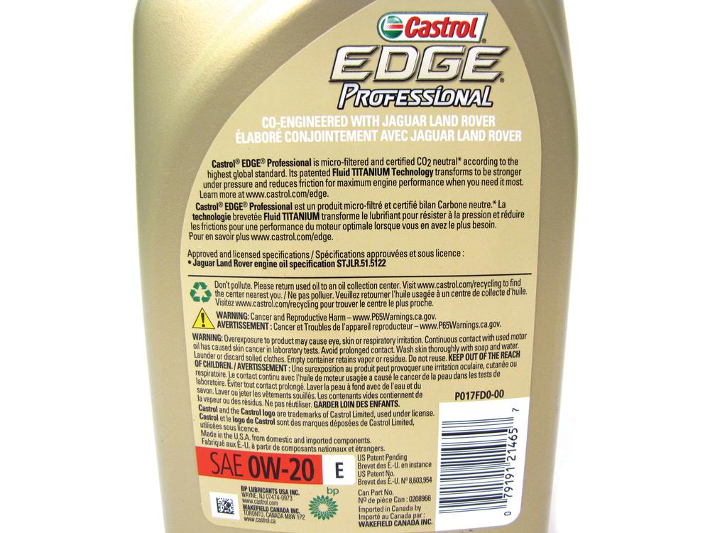 Engine Oil, Castrol Edge Professional Synthetic 0W-20, Original Equipment Spec With Additives, 1 Quart