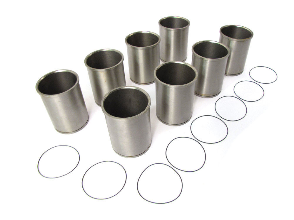Engine Cylinder Liners For Rover 4.0 And 4.6L Engines, Improved Tophat Flange Design, Set Of 8 With O-Ring Seals, For Land Rover Discovery I And Series II, Range Rover P38, Classic And Defender 90