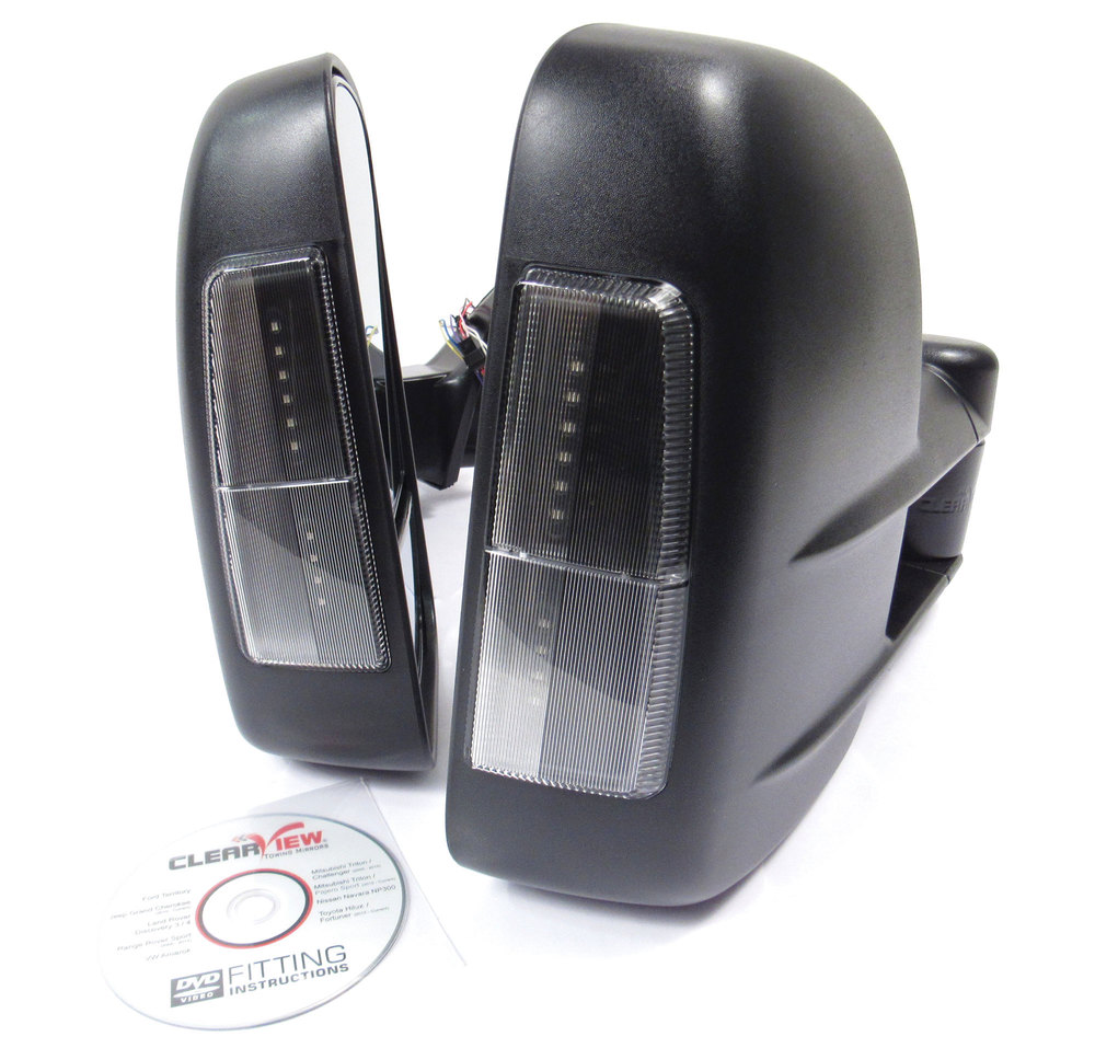 Clearview towing mirrors integrated indicators closeup