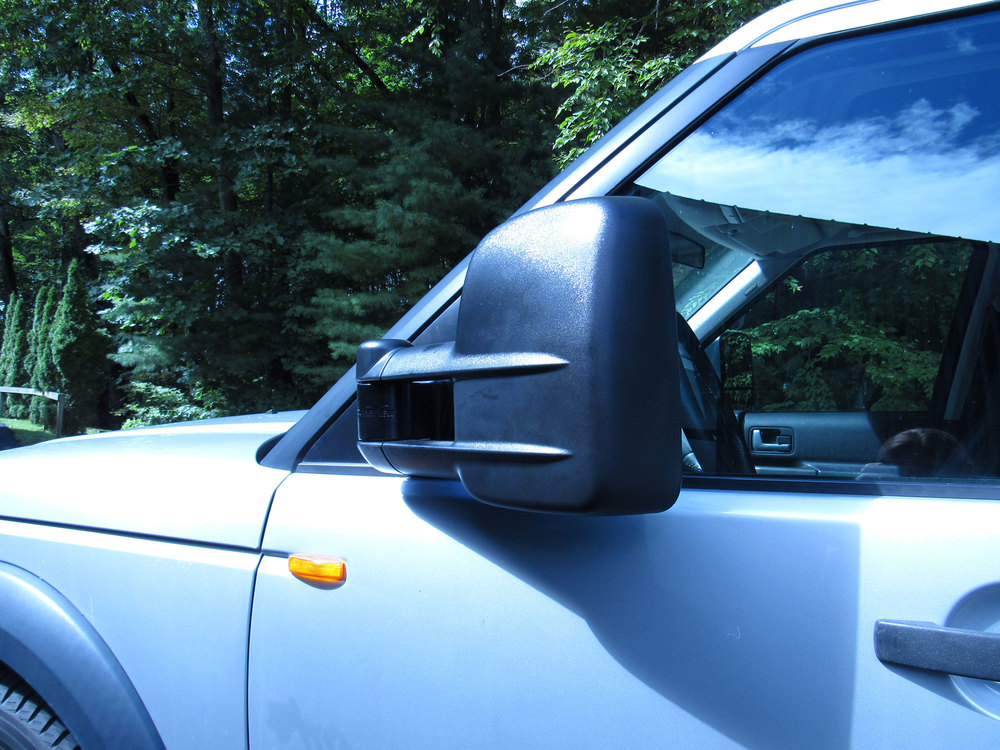 Closed side view of Clearview towing mirror on LR3