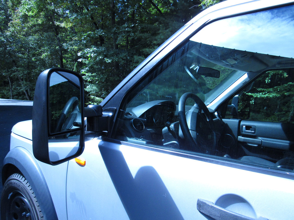 Open side view of Clearview towing mirror on LR3