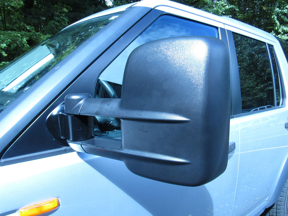 Close-up view of Clearview towing mirror electrics for LR3