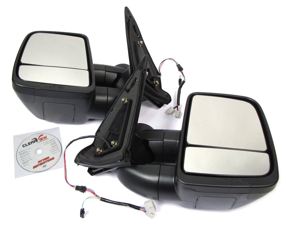 Clearview Next Gen Towing Mirrors, Pair In Black, For Toyota Land Cruiser 200 Series And Lexus LX570 2008-On, Electric Power Adjustable