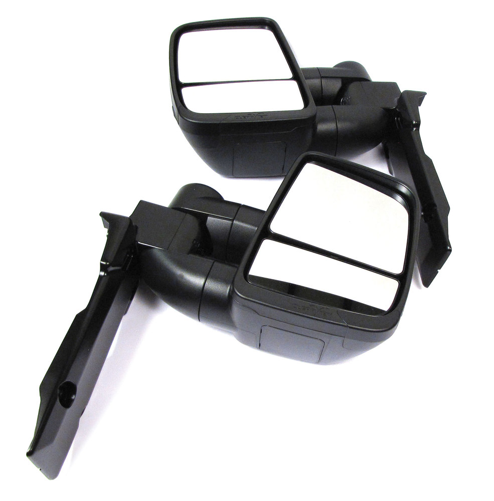 Clearview Next Gen Towing Mirrors, Pair In Black, For Toyota Land Cruiser 75-79 Series LWB, 1984 - On, Manual Adjust