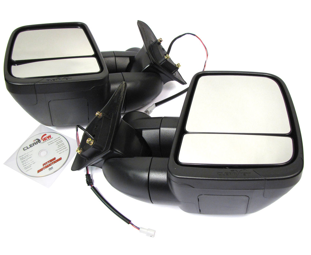 Clearview Next Gen Towing Mirrors, Pair In Black, For Toyota Land Cruiser 80 Series 1998 - 2007, Electric Power Adjustable