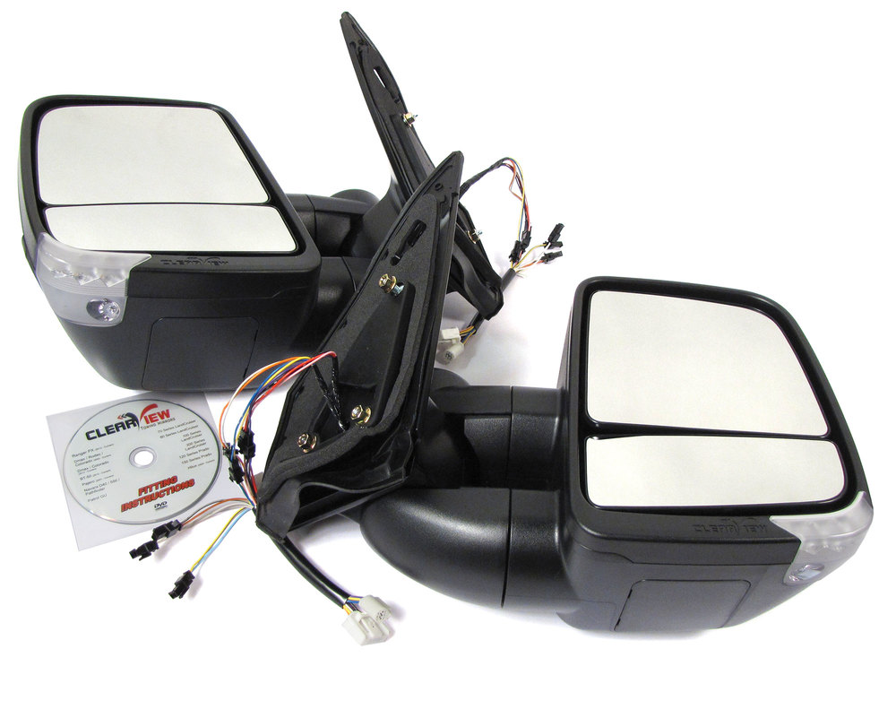Clearview Next Gen Towing Mirrors, Pair In Black, For Toyota Land Cruiser 200 Series And Lexus LX570 2008-On, Electric Power Adjustable With Turn Signal Indicators
