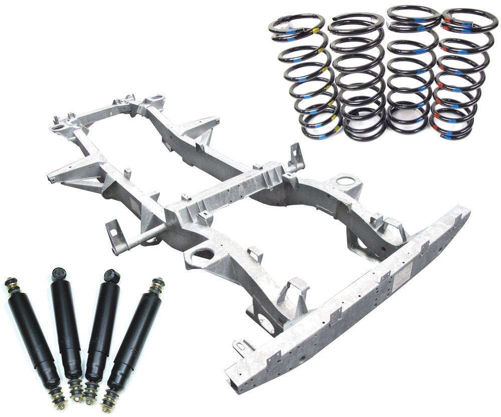 Chassis Frame-Over Kit For Defender 90: Galvanized Chassis With Standard Shocks, Coil Springs, Fuel Lines, Bushings And Hardware