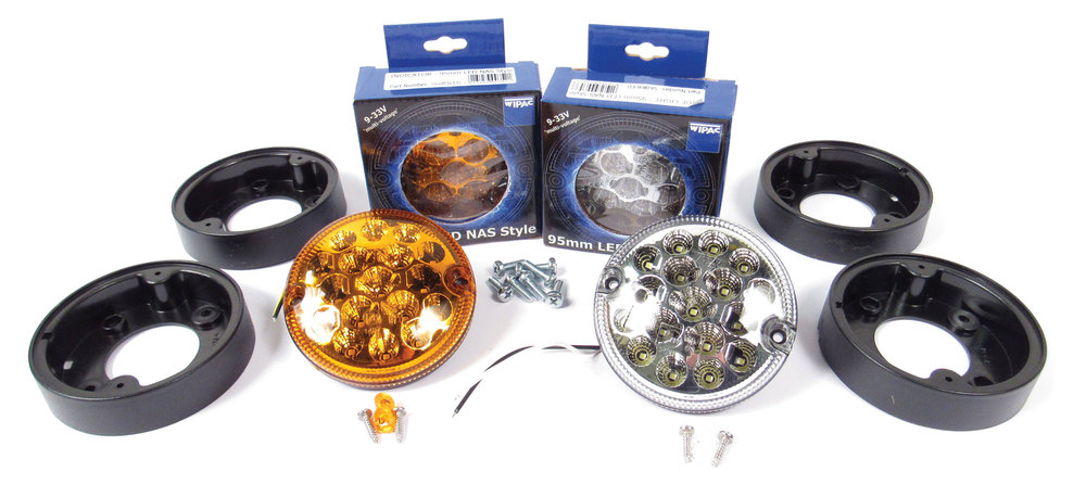 Front Light LED Upgrade Kit By Wipac, 2 Clear And 2 Orange Lamps For North American Spec Defender 90