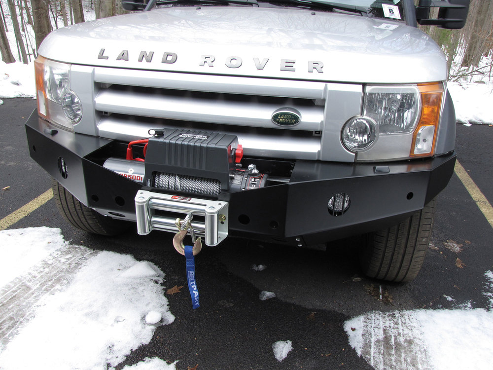 Integrated Steel Front Bumper And Winch Kit For Land Rover LR3, Includes 5MM Steel Bumper, Britpart Pulling Power DB9500I 9,500 Lb Winch, Wipac Fog Lights And Aluminum Washer Bottle