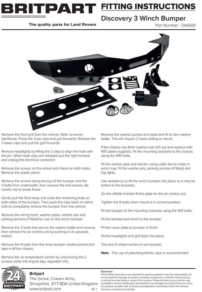 Integrated Steel Front Winch Bumper For Land Rover LR3, Includes Wipac Fog Lights And An Upgraded Aluminum Washer Bottle