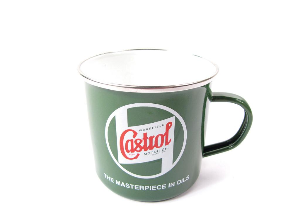 Classic Castrol Tin And Enamel Mug, Green With Wakefield Castrol Period Logo